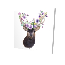 Canvas 24 x 24 - 3D - Roe deer head with flowers