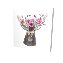 Canvas 24 x 24 - 3D - Deer head with flowers