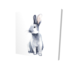 Canvas 24 x 24 - 3D - Gray curious rabbit