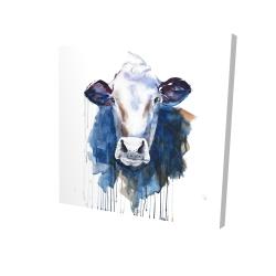 Canvas 24 x 24 - 3D - Watercolor cow