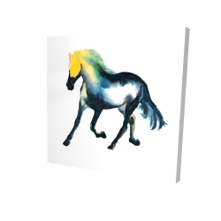 Canvas 24 x 24 - 3D - Galloping colorful horse
