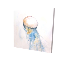 Canvas 24 x 24 - 3D - Watercolor jellyfish
