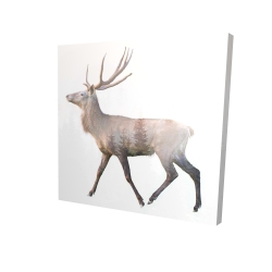 Canvas 24 x 24 - 3D - Deer and forest