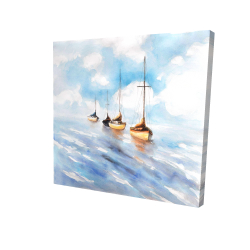 Canvas 24 x 24 - 3D - Sailboats in the sea