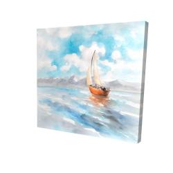 Canvas 24 x 24 - 3D - Sailboat landscape