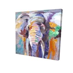 Canvas 24 x 24 - 3D - Elephant in pastel color