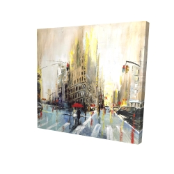 Canvas 24 x 24 - 3D - Abstract rainy street