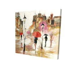 Canvas 24 x 24 - 3D - Passersby under their umbrellas