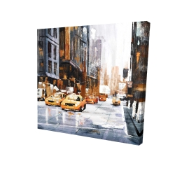 Canvas 24 x 24 - 3D - Big city street with yellow taxi