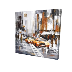 Canvas 24 x 24 - 3D - Abstract citystreet with yellow taxis