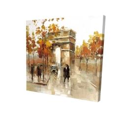 Canvas 24 x 24 - 3D - Arc de triomphe in autumn