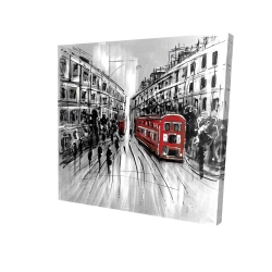 Canvas 24 x 24 - 3D - Black and white street with red bus