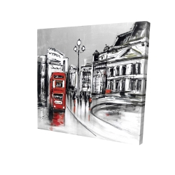 Canvas 36 x 36 - 3D - Abstract gray city with red bus