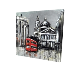 Canvas 24 x 24 - 3D - London street with red bus