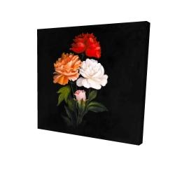 Canvas 24 x 24 - 3D - Three beautiful rose flowers