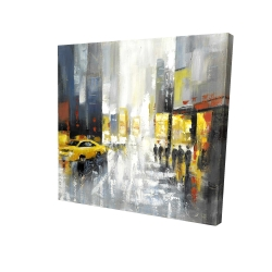Canvas 24 x 24 - 3D - Rainy busy street