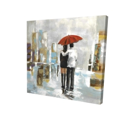 Canvas 24 x 24 - 3D - Couple walking under their umbrella