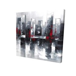 Paysage urbain abstrait et sa réflexion sur l'eau