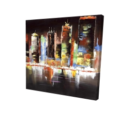 Canvas 24 x 24 - 3D - Cityscape by night