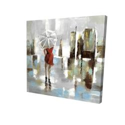 Canvas 24 x 24 - 3D - Red dress woman