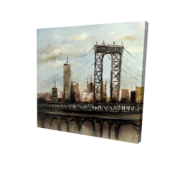 Canvas 24 x 24 - 3D - City bridge by a cloudy day