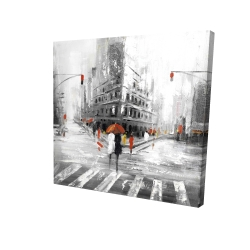 Canvas 24 x 24 - 3D - Gray city street with red accents