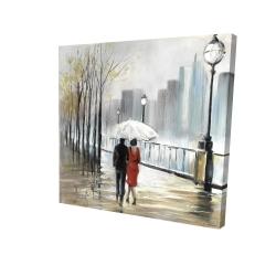 Canvas 24 x 24 - 3D - Couple walking under the rain