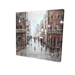 Canvas 24 x 24 - 3D - City rain