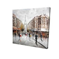 Canvas 24 x 24 - 3D - Paris busy street