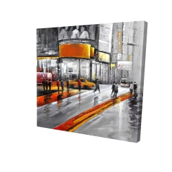 Canvas 24 x 24 - 3D - Gray street with orange accents