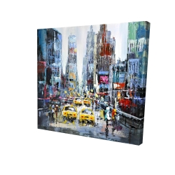 Canvas 24 x 24 - 3D - Urban scene with yellow taxis