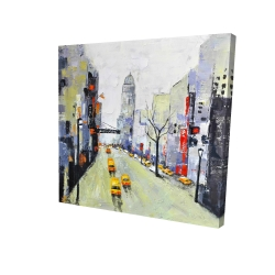 Canvas 24 x 24 - 3D - Gray street with yellow and red accents