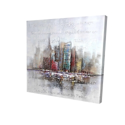 Canvas 24 x 24 - 3D - Cityscape with typography in relief