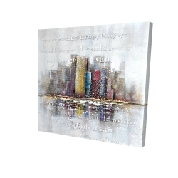 Canvas 24 x 24 - 3D - Buildings with typography in relief