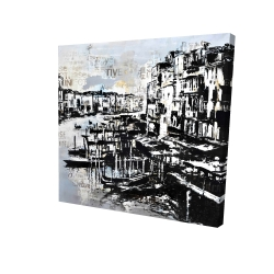 Canvas 24 x 24 - 3D - Abstract venise port