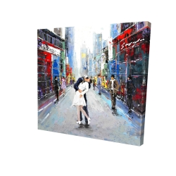 Canvas 24 x 24 - 3D - Couple kissing on the street