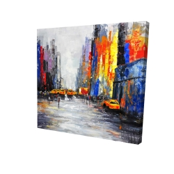Canvas 24 x 24 - 3D - Color spotted street with taxis