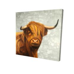 Canvas 24 x 24 - 3D - Highland cattle