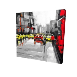 Canvas 24 x 24 - 3D - Abstract traffic by a rainy day