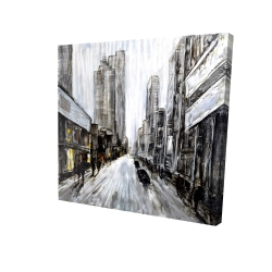 Canvas 24 x 24 - 3D - Gray gloomy street