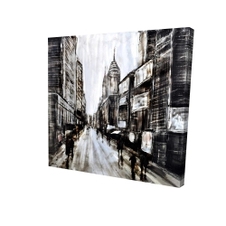 Canvas 24 x 24 - 3D - Busy gray street