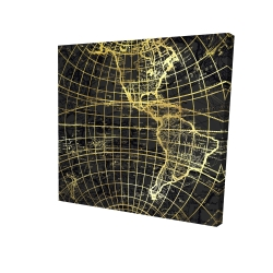 Canvas 24 x 24 - 3D - Black and marine world map globe