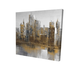 Canvas 24 x 24 - 3D - Gray and yellow cityscape