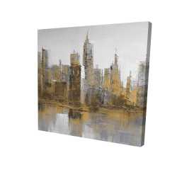Canvas 24 x 24 - 3D - Brown and gloomy cityscape