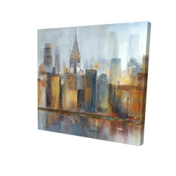 Canvas 24 x 24 - 3D - Cityscape with chrysler building