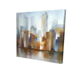 Canvas 24 x 24 - 3D - Cityscape in the fog