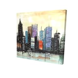 Canvas 24 x 24 - 3D - Skyline on abstract cityscape
