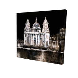 Canvas 24 x 24 - 3D - White monument on a dark background