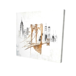 Canvas 24 x 24 - 3D - Brooklyn bridge blurry sketch