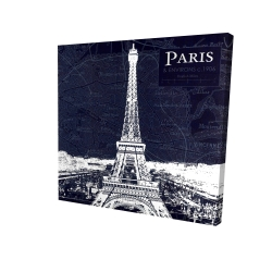 Canvas 24 x 24 - 3D - Paris blue print and eiffel tower